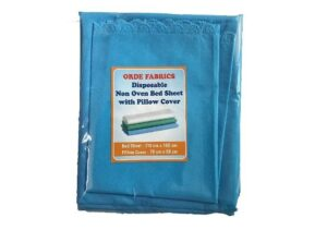 ORDE FABRICS Non-Oven Double Disposable Synthetic Bed Sheet with Pillow Cover for Hospitals and CLINICS