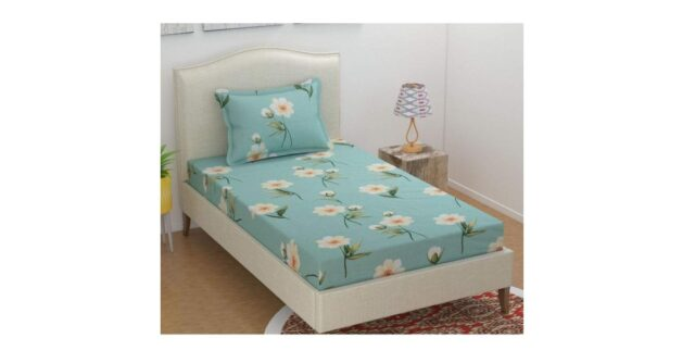Single Glace Cotton Bedsheet PRIDHI with 1 Pillow cover