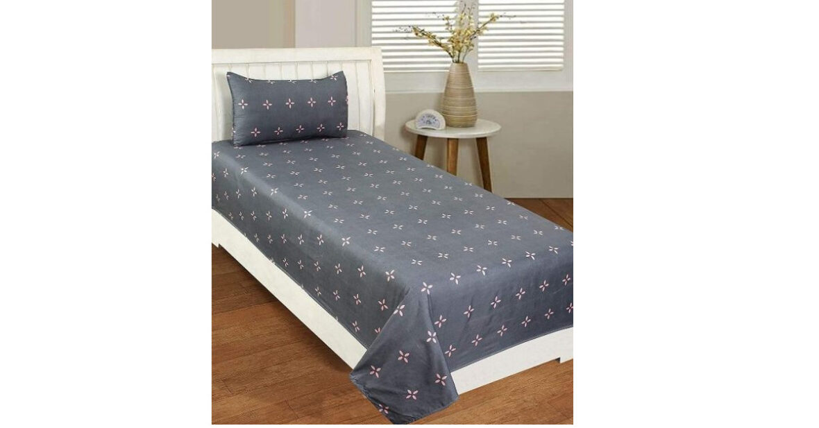 Single Cotton Bedsheet with 1 Pillow Cover-Grey The Best Quality