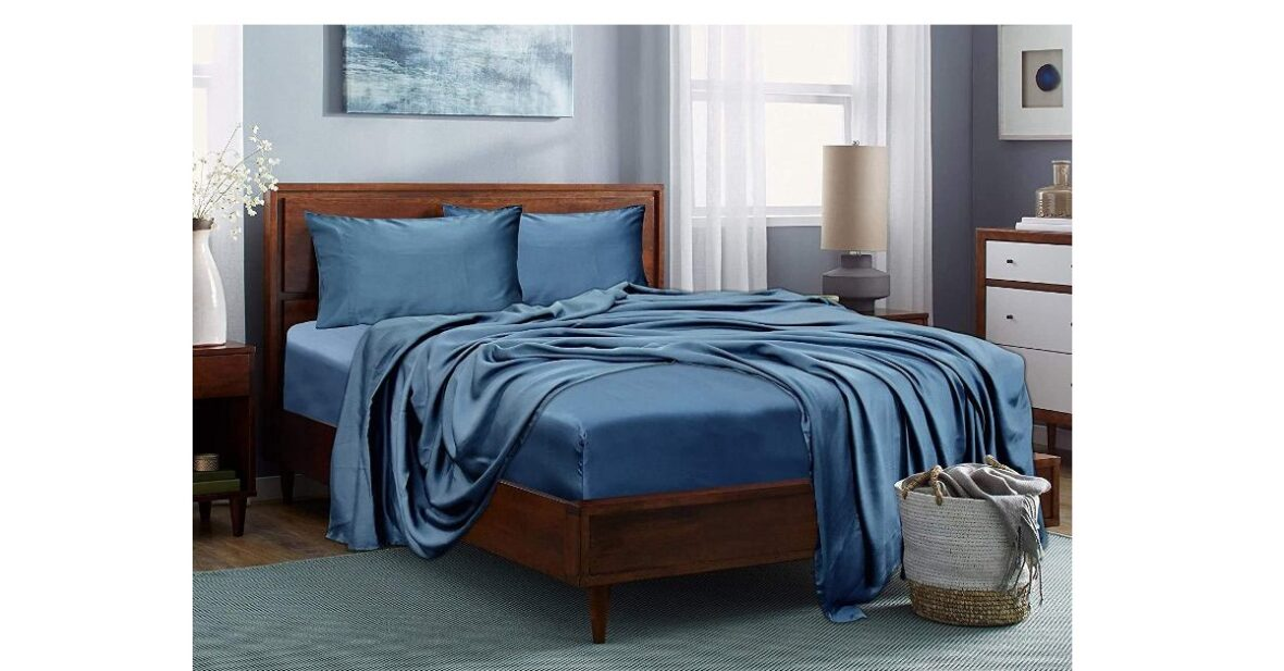 """Pure Bamboo Bed Sheets 100 x 108 Inch with 2 Pcs Pillow Cover Set (18""""x28"""") Double Bedsheet King Size"""